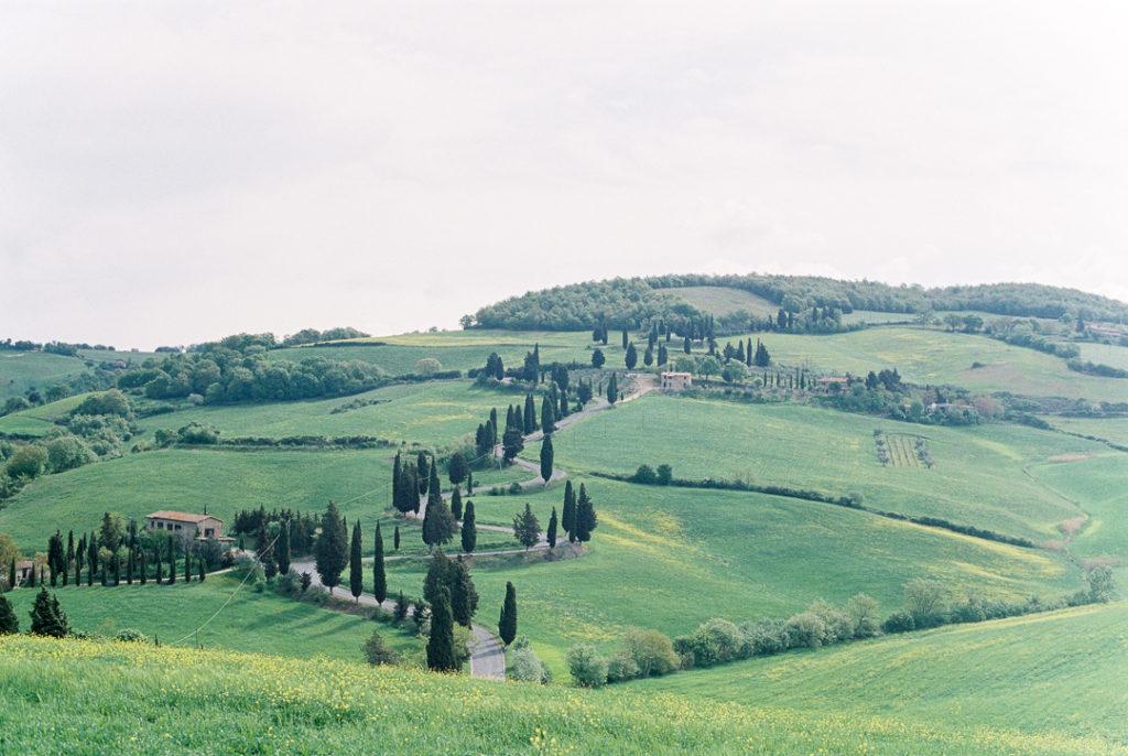 Извилистая дорога с кипарисами в Тоскане