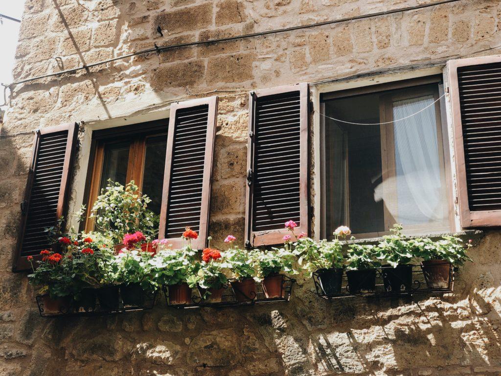 окно со ставнями и цветами в горшках