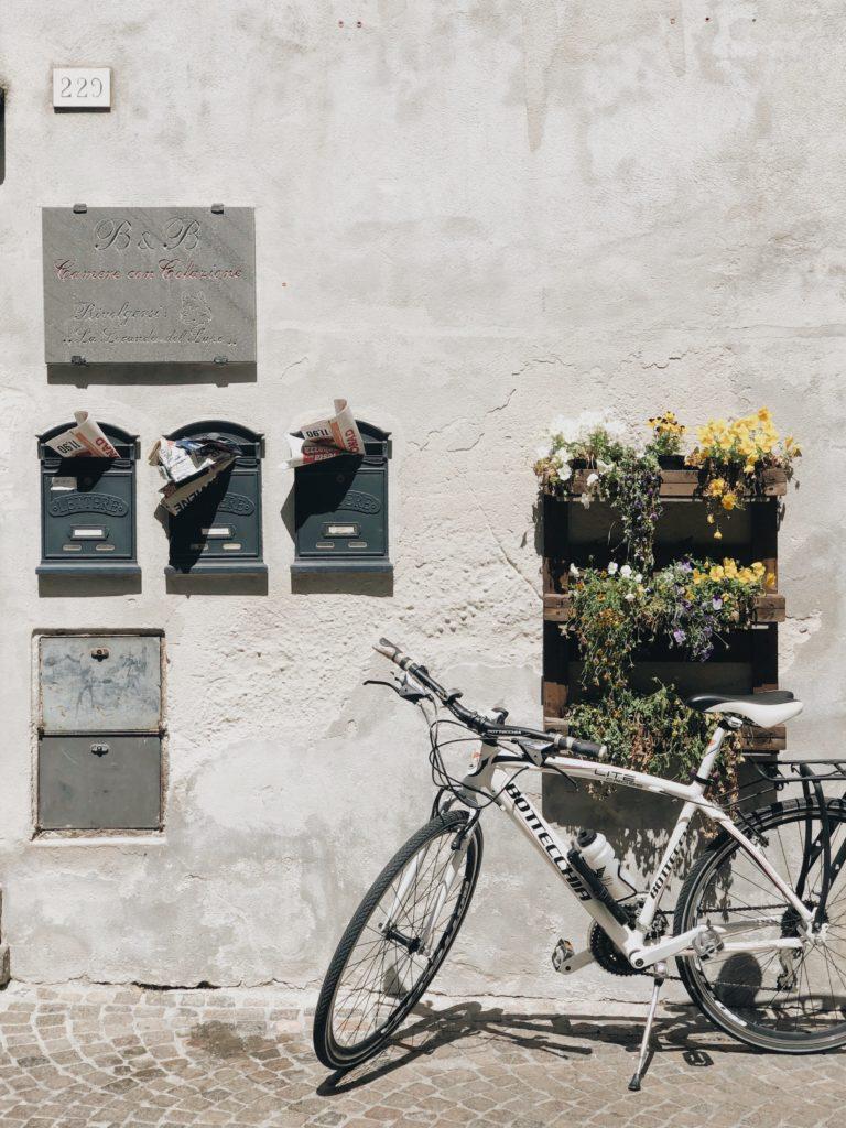 Припаркованный велосипед с цветами